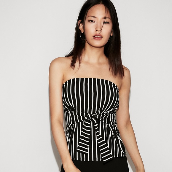 Express Tops - Express Striped Tie Front Tube Top
